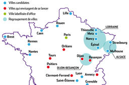 Carte : Tour de France des villes candidates au label French Tech