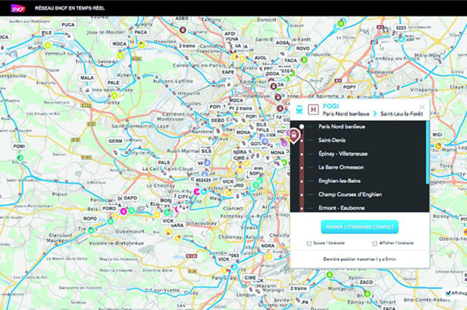 SNCF Maps localise les trains en direct